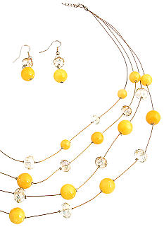 Erica Lyons Lemoncello Orange Crush Necklace and Pierced Earrings Set