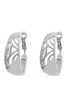 Erica Lyons Silver-Tone Modern Design Hoop Clip Earrings
