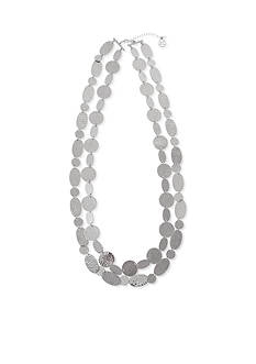 Erica Lyons Silver-Tone Hammered Necklace