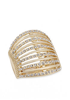 Erica Lyons Gold-Tone and Crystal Bar Stretch Ring