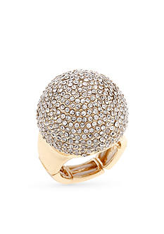 Erica Lyons Gold-Tone Pave Dome Fashion Stretch Ring