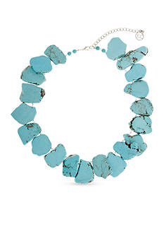Erica Lyons Silver-Toned Go West Stone Statement Necklace