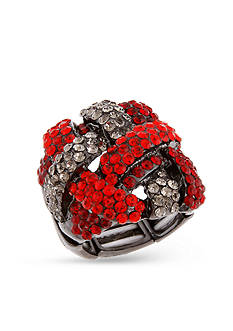 Erica Lyons Red Crystal Stretch Ring