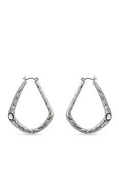 Erica Lyons Silver-Tone Melt Organic Hoop Pierced Earrings