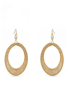 Erica Lyons Gold-Tone Mesh Open Oval Drop Earrings