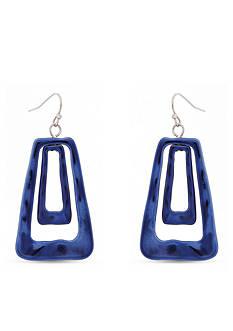 Erica Lyons Silver-Tone Trifecta Blue Trapezoid Earrings
