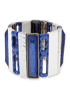 Erica Lyons Silver-Tone Trifecta Blue Wide Stretch Bracelet