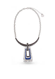Erica Lyons Silver-Tone Trifecta Blue Trapezoid Pendant Necklace