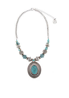 Erica Lyons Silver-Toned Go West Oval Pendant Necklace