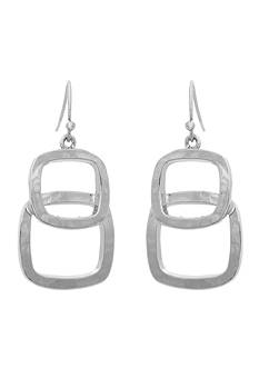 Erica Lyons Silver-Tone Layered Squares Drop Earrings