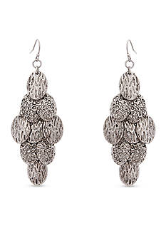 Erica Lyons Silver-Tone On the Prowl Jet Oval Kite Pierced Earrings