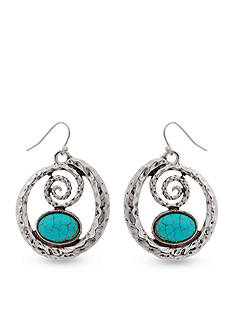 Erica Lyons Silver-Tone Go West Drop Spiral Earrings