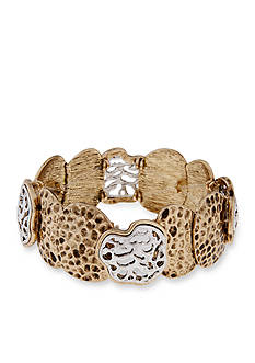 Erica Lyons Silver-Tone Cut It Out Organic Shapes Stretch Bracelet