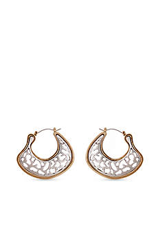 Erica Lyons Silver-Tone Cut It Out Flat Hoop Earrings