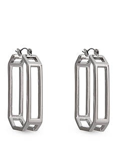 Erica Lyons Silver-Tone A Matter of Abstract Rectangle Hoop Pierced Earrings