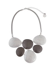 Erica Lyons Silver-Tone Grey Area Collar Necklace