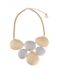 Erica Lyons Gold-Tone Grey Area Collar Necklace