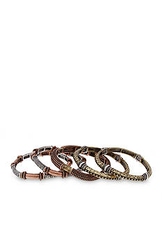 Erica Lyons Tri-Tone Welcome to the Jungle 5-Piece Stretch Bangle Bracelet Set