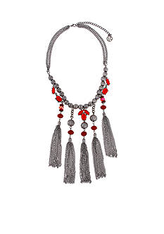 Erica Lyons Hematite-Tone Red & Black 5 Tassel Front Statement Necklace