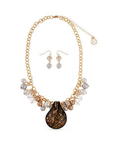 Erica Lyons Gold-Tone Bronze Glass Pendant Necklace and Earrings Set