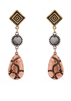 Erica Lyons Gold-Tone Welcome to the Jungle Triple Drop Earrings