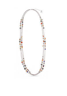 Erica Lyons Silver-Tone Chip Flick Long Multi-Strand Necklace