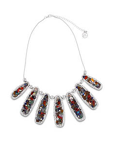 Erica Lyons Silver-Tone Chip Flick Long Ovals Front Necklace