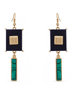 Erica Lyons Gold-Tone In The Midnight Hour Geometric Drop Earrings
