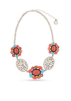 Erica Lyons Gold-Tone Coral Me Bad Stone Clusters Statement Necklace