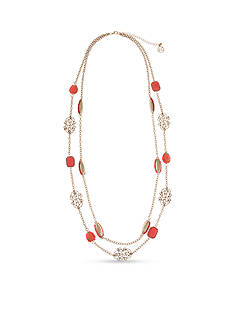 Erica Lyons Gold-Tone Coral Me Bad Double Chain Long Necklace