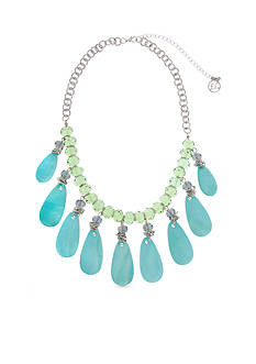 Erica Lyons Silver-Toned Mint to Be Teardrop Fringe Statement Necklace
