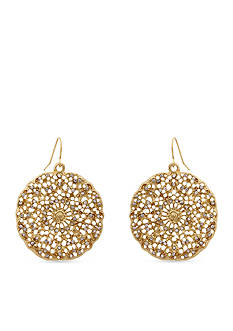 Erica Lyons Gold-Tone Crystal Filigree Disc Drop Earrings