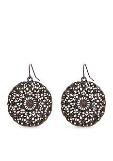 Erica Lyons Hematite-Tone Crystal Filigree Disk Drop Earrings