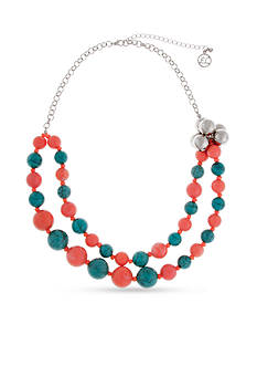 Erica Lyons Silver-Tone South West Spirit Beaded Collar Necklace