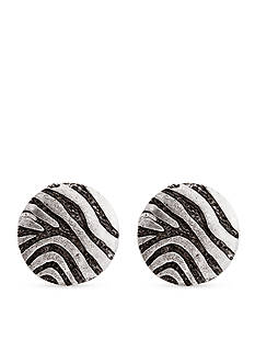 Erica Lyons Silver-Tone Welcome to the Jungle Zebra Button Clip Earrings