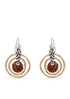 Erica Lyons Gold-Tone Welcome to the Jungle Drop Nested Rings Drop Earrings