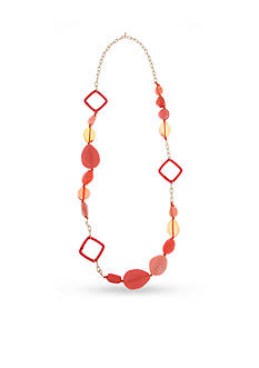 Erica Lyons Gold-Tone Coral Me Bad Long Beaded Necklace