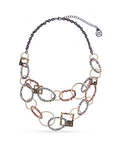 Erica Lyons Silver-Tone Welcome to the Jungle Animal Print Double Chain Necklace