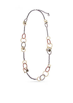 Erica Lyons Hematite-Tone Welcome to the Jungle Animal Print Long Chain Necklace