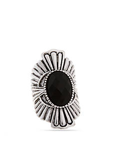 Erica Lyons Silver-Tone Antique Jet Stretch Ring