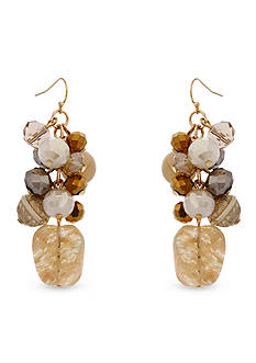 Erica Lyons Over the Taupe Drop Bead Cluster Earrings
