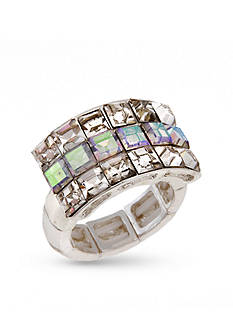 Erica Lyons Silver-Tone Wide Band Fashion Stretch Ring