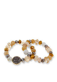 Erica Lyons Over the Taupe Mixed Bead 2-Piece Stretch Bracelet