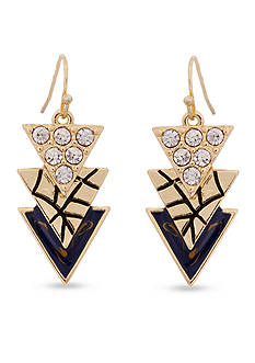 Erica Lyons Gold-Tone Chambray'd Triple Triangle Drop Earrings