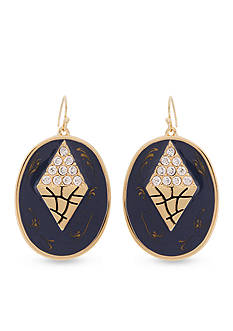 Erica Lyons Gold-tone Chambray'd Oval Disk Drop Earrings