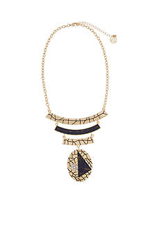 Erica Lyons Gold-Tone Chambray'd Bars and Oval Pendant Necklace
