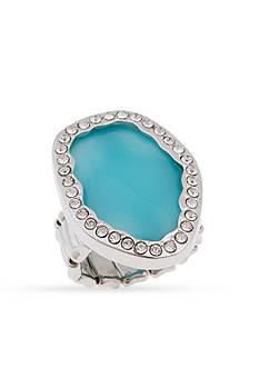 Erica Lyons Silver-Tone Organic Oval Fashion Stretch Ring