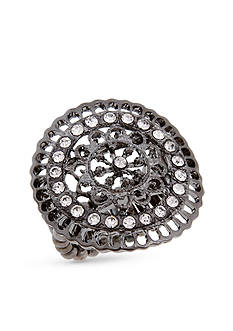 Erica Lyons Hematite-Tone Filigree Circle Fashion Stretch Ring
