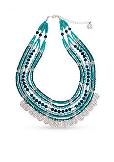 Erica Lyons Silver-Tone Bead All About It Collection Multi Row Fringe Necklace