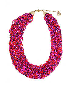 Erica Lyons Gold-Tone Back to the Fuchsia Braided Multistrand Necklace